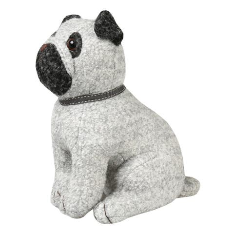 What on Earth Pug Dog Doorstop - Wool and Polyester - Weighted with Sand - Gray - 10 in.