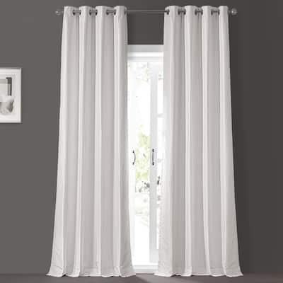 Exclusive Fabrics Textured Dupioni Faux Silk 108-inch Blackout Grommet Curtain (1 Panel) - 50 x 108