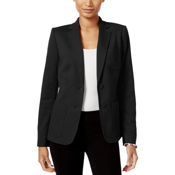 a60a057cf315 Shop Tommy Hilfiger Womens Two-Button Blazer Patch Pocket Crepe ...