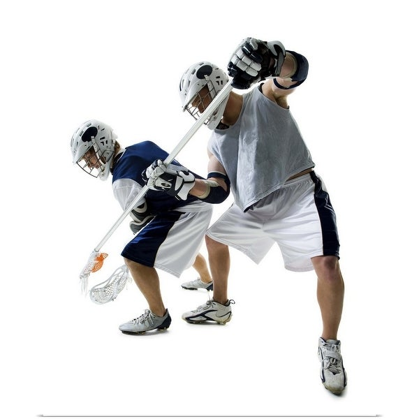 """""""Two young men playing lacrosse"""" Poster Print"""
