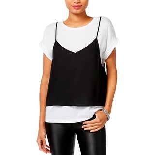 Guess Womens Casual Top 2FER Short Sleeves - M