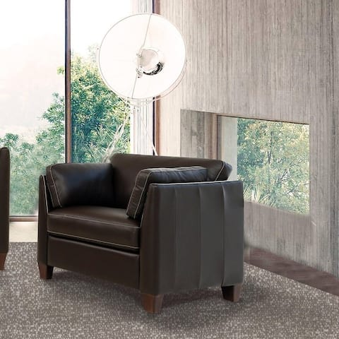 "Copper Grove Dimnat Chocolate Leather Chair - 36""L x 34""D x 31""H"