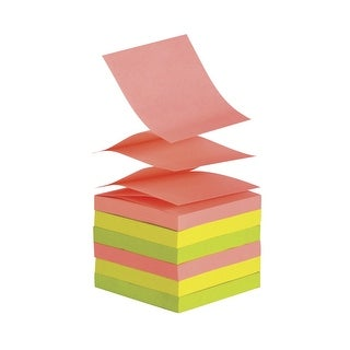 School Smart Pop-Up Self-Stick Adhesive Note, 3 X 3 in, Assorted Neon Colors, 100 Sheets/Pad, Pack of 12