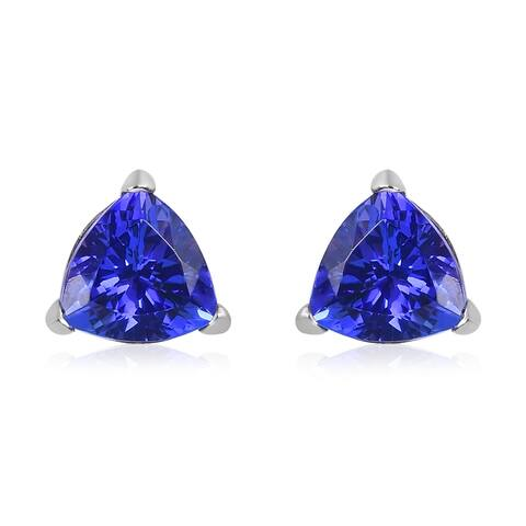 950 White Platinum AAAA Blue Tanzanite Stud Elegant Earrings Ct 3