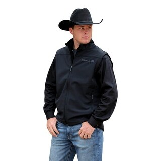 Cinch Western Vest Mens Bonded Pockets Mock Zip 3XL Black MWV101210X