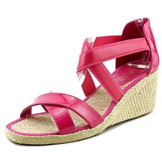 Lauren Ralph Lauren Cortney Open Toe Patent Leather Wedge Sandal