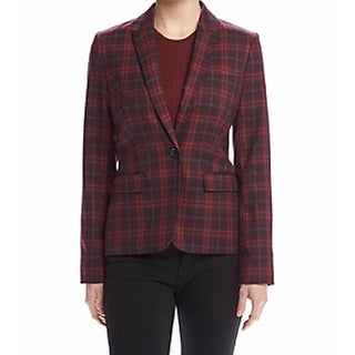 Tommy Hilfiger NEW Red Navy Blue Plaid Women's Size 4 Blazer Jacket