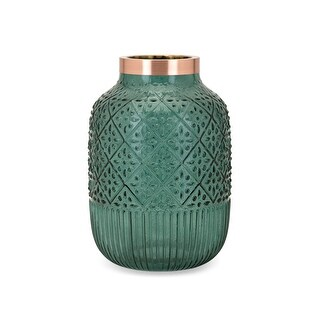 IMAX Home 40939  Caper Large Glass Vase - Teal