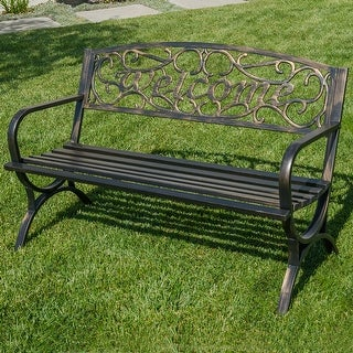 "Belleze 50"" Welcome Vines Decorative Patio Garden Outdoor Park Bench Seat Backyard, Bronze"
