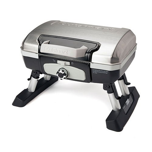 """""""Cuisinart Petit Gourmet Tabletop Portable Gas Grill Petit Gourmet Portable Tabletop Outdoor LP Gas Grill in Silver/Black"""""""
