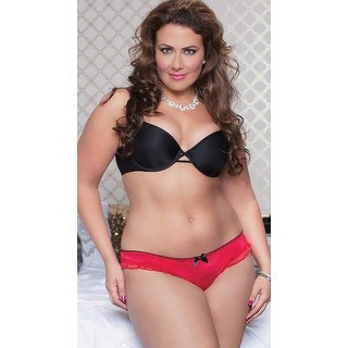 Plus Size Satin And Lace Crotchless Panty, Lace Open Crotch Panty