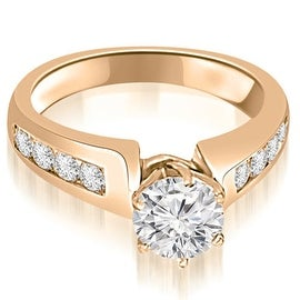 1.50 cttw. 14K Rose Gold Channel Set Round Cut Diamond Engagement Ring