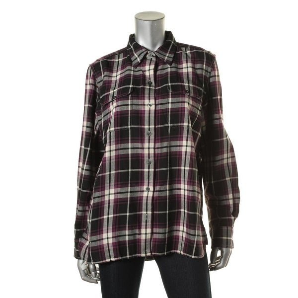 LRL Lauren Jeans Co. Womens Button-Down Top Plaid Flannel
