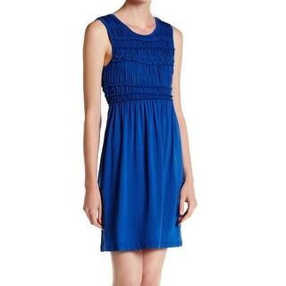Max Studio NEW Blue Women's Size Large L Shirred Yoke Shift Dress