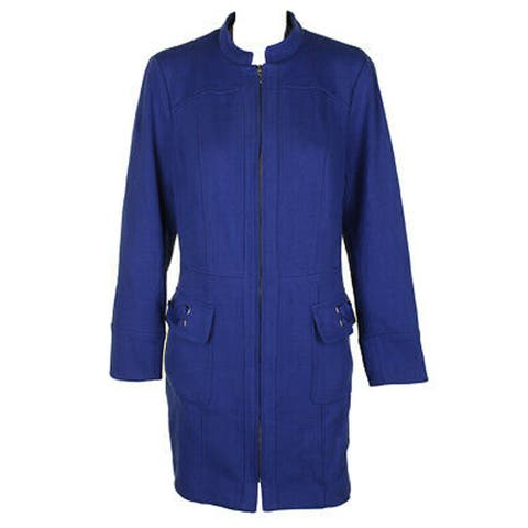 INC International Concepts Ponte Zip Basic Jacket, Bright Blue, XX-Large