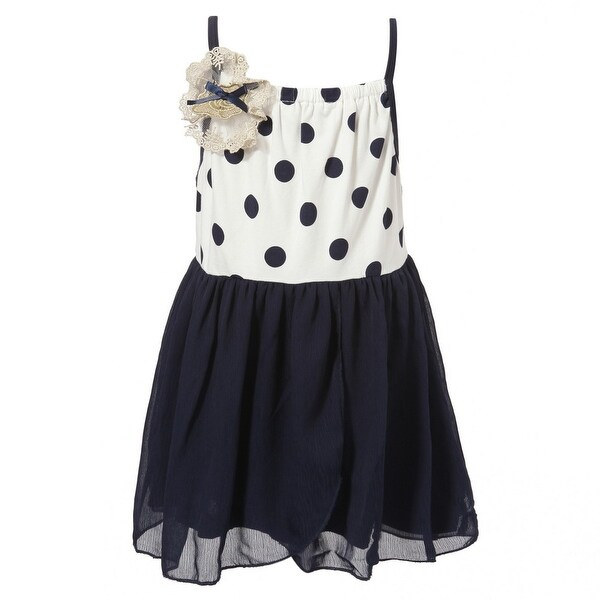 Richie House Baby Girls Navy White Flower Accent Sweet Knit Slip Dress 12M