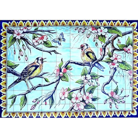 60in x 42in Rare Goldfinch Design 70pc Tile Ceramic Wall Mural