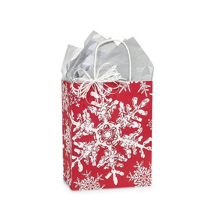 """Pack Of 25, Cub 8.25 X 4.75 X 10.5"""" Christmas Snowflakes Red Paper Shopping Bag Made In Usa"""
