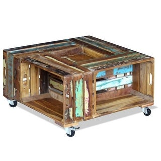 "vidaXL Coffee Table Solid Reclaimed Wood 27.6""x27.6""x13.8"""