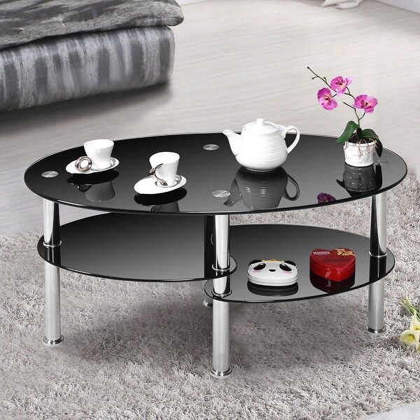 Black Coffee Table Shelf: Shop Costway Tempered Glass Oval Side Coffee Table Shelf