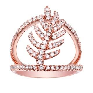 Brand New 0.75 TCW Round Brilliant Cut G-H/SI1 Natural Diamond Leaf Style Designer Ring - White G-H