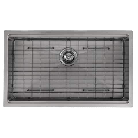 Ancona 32 in. Single Bowl Undermount Kitchen Sink with in PVD Gunmetal