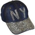 NY New York Sparkling Bedazzled Studded Baseball Cap Hat, Denim, Dark Blue - Thumbnail 0