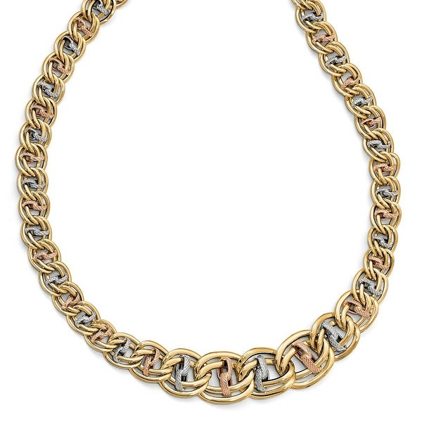 Italian 14k Tri-Color Gold Polished & Textured Fancy Link Necklace - 18 inches