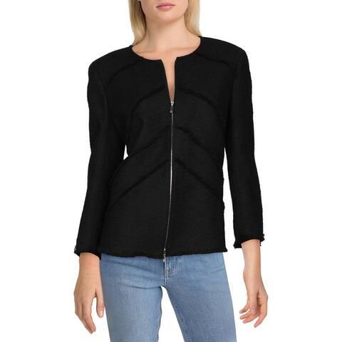 Lafayette 148 New York Womens Collarless Blazer Linen Blend Fringe - Black
