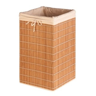 """Honey-Can-Do HMP-01620 Square Wicker Bamboo Laundry Hamper with Liner, 25"""""""