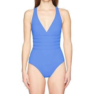 Link to La Blanca Island Goddess Multi Strap Cross Back One Piece Swimsuit,Blue Suede,14 Similar Items in Swimwear