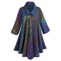 Women's Royal Garden Circle Coat - 100% Cotton in Purple Tie-Dye