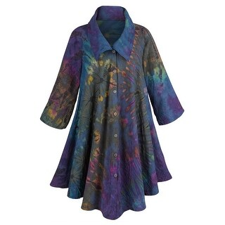 Women's Royal Garden Circle Coat - 100% Cotton in Purple Tie-Dye (3 options available)