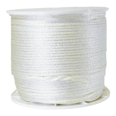 Wellington G1016S1000S Solid Braided Nylon Rope, White, 1000'