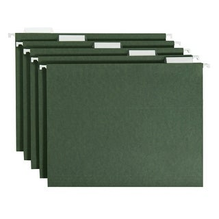 Smead Vinyl Tab/Mediumweight Stock 1/5 Cut Hanging Folder, Letter, 2 in Expansion, Standard Green, Pack of 25