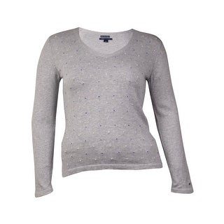 Tommy Hilfiger Women's Knotted Front Pullover Sweater (L, Grey Heather) - l