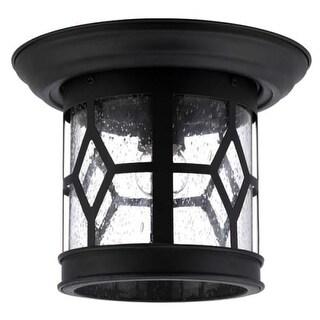 "Canarm IOL207 Atlanta Single Light 10"" Wide Outdoor Flush Mount Lantern Ceiling Fixture"