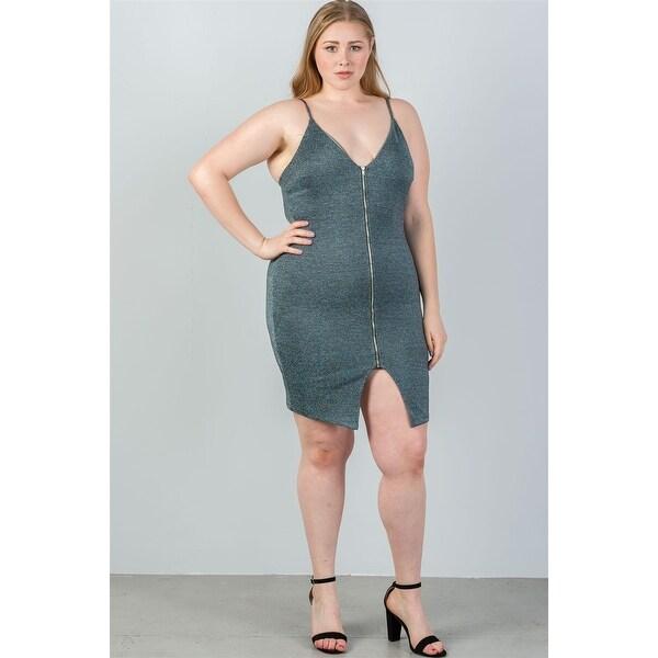 Shop Ladies Fashion Plus Size Glitter Green Zip-Up Bodycon Mini ...