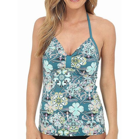 Soybu Blue Womens Size XS Printed Halter-Neck Swim Tankini Top