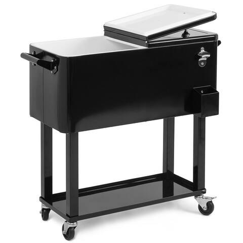 Belleze 80QT Portable Rolling Cooler Ice Beverage w/ Wheel, Black - standard