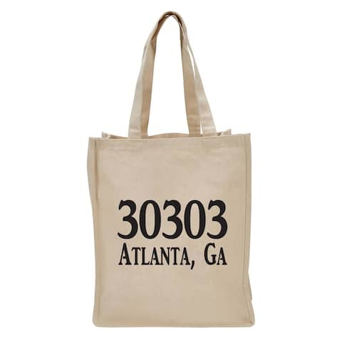 """17"""" Beige Reusable Shopping and Tote Bag with Zip Code Design"""