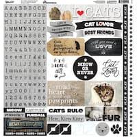 "Love My Cat Alpha Stickers 12""X12"""