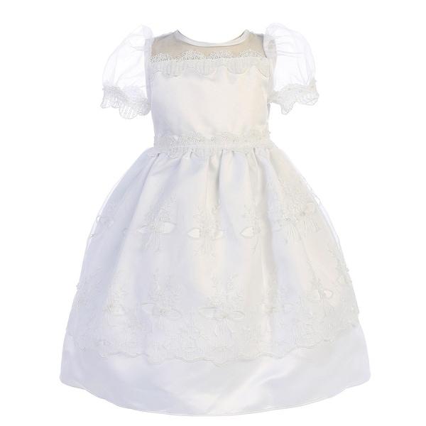 Angels Garment Baby Girls White Satin Organza Lace Trim Baptism Dress