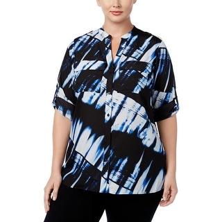 Calvin Klein Womens Plus Button-Down Top Chiffon Printed