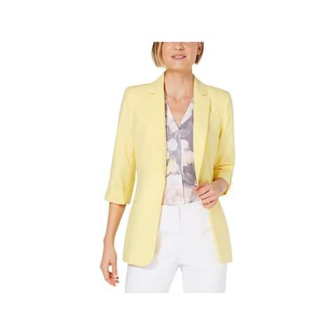 Calvin Klein Womens Petites Open-Front Blazer Notched Collar Cuffed - Popcorn - PXS