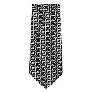 Marquis Men's Black & White Geometric Neck Tie & Hanky Set TH200-024 - regular