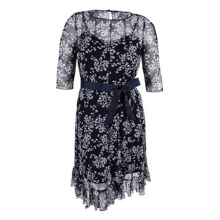 Jessica Howard Women's Floral Print Belted Dress - navy ivory