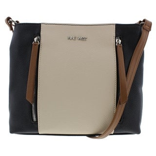 Nine West Womens Neala Faux Leather Colorblock Crossbody Handbag - Black/Tobacco - SMALL