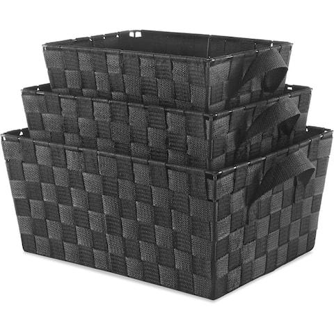 Whitmor 6581-1959-blk woven strap basket 3 set black