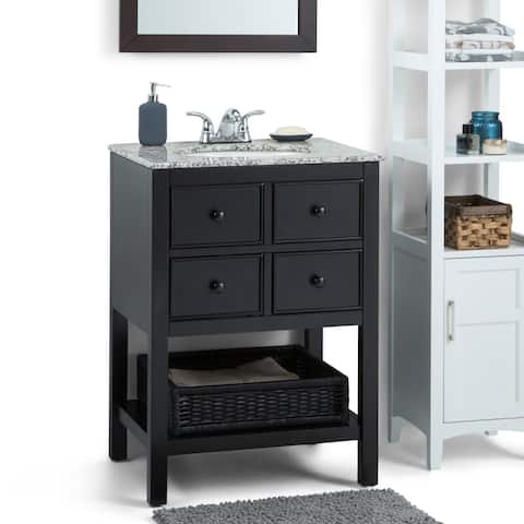 WYNDENHALL New Haven 24 inch Contemporary Bath Vanity with Dappled Grey Granite Extra Thick Top